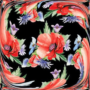 LARGE RETRO POPPY ART DECO TILES on black