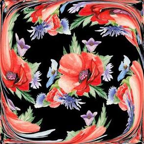LARGE RETRO POPPY ART DECO TILES on black
