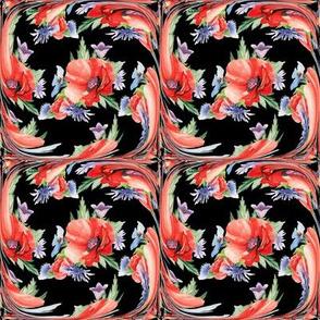 SMALL RETRO POPPY ART DECO TILES on black