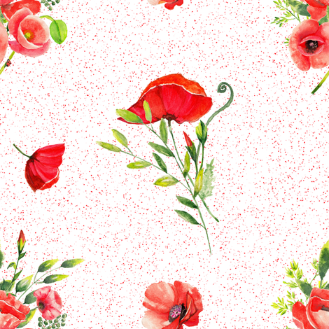 POPPIES FLOWERS BOUQUETS RED ON MISTY RED WHITE fabric by floweryhat on Spoonflower - custom fabric
