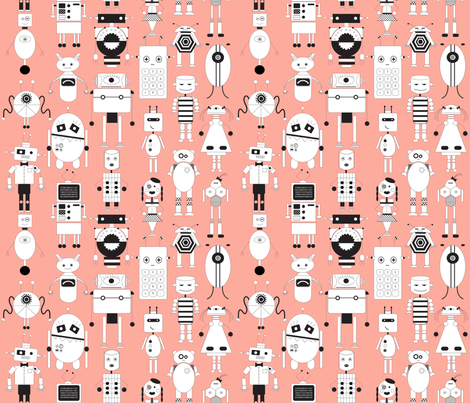 robot_party_peachy fabric by booboo_collective on Spoonflower - custom fabric