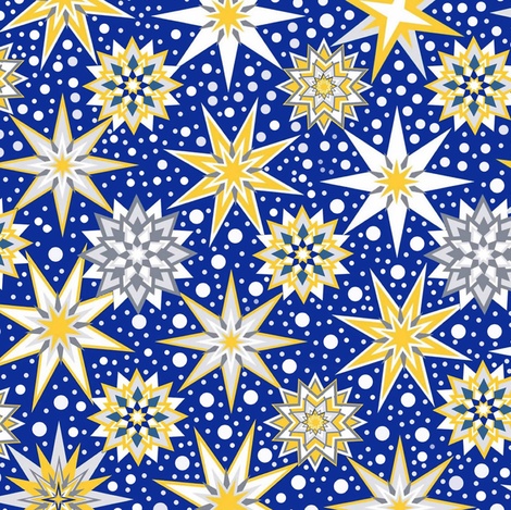Christmas star & snow- starlight snow fall fabric by magentarosedesigns on Spoonflower - custom fabric