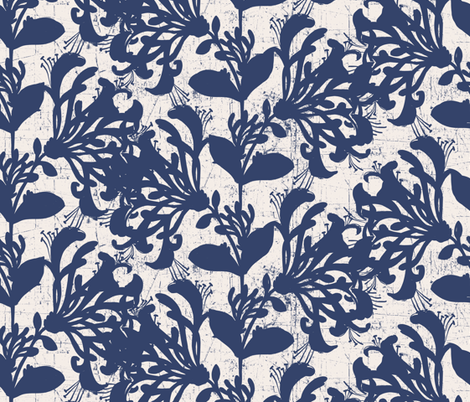 Honeysuckle blue modern fabric by susiprint on Spoonflower - custom fabric