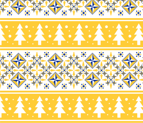 Sunny Winter Tree and Snowfall fabric by shasmeen on Spoonflower - custom fabric