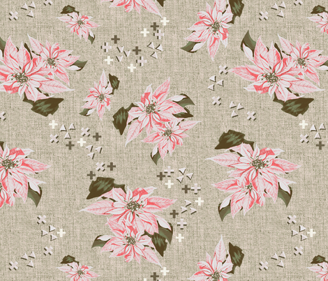 poinsettias big pink fabric by susiprint on Spoonflower - custom fabric