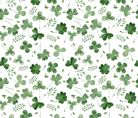 Watercolor Shamrocks fabric by hipkiddesigns on Spoonflower - custom fabric