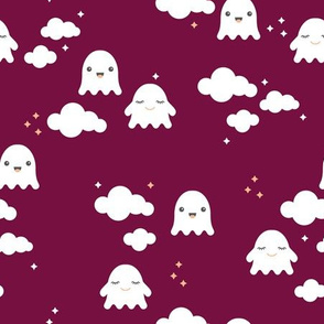 Ghosts and clouds halloween sky kawaii illustration design for sleepy kids cherry purple