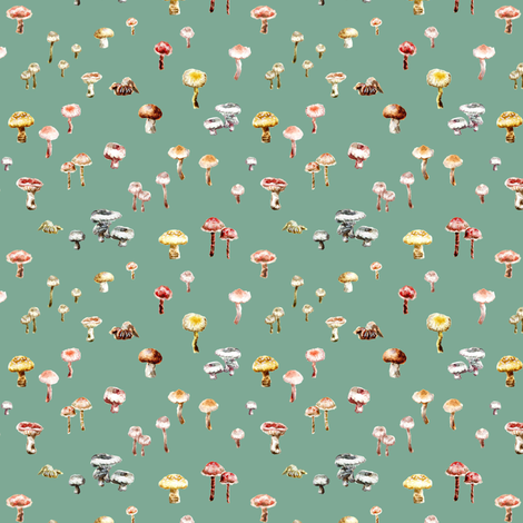 Little Mushrooms Watercolor Sage Green fabric by teja_jamilla on Spoonflower - custom fabric