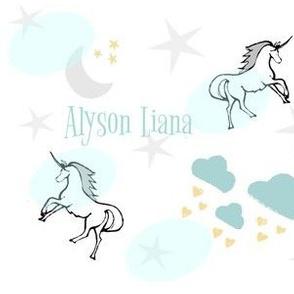 magical unicorns 7 - gray mint sprinkle- PERSONALIZED Alyson Liana