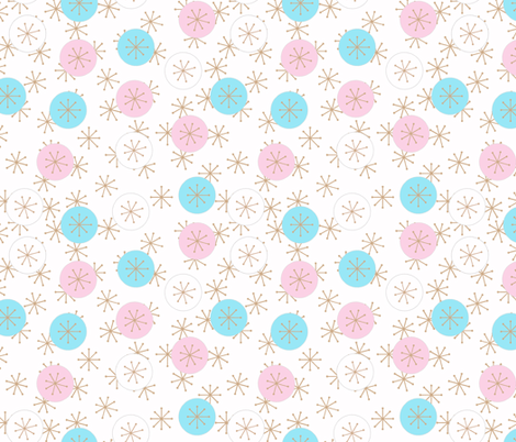 Atomic Snow Ditzy - Pink & Cyan fabric by engravogirl on Spoonflower - custom fabric