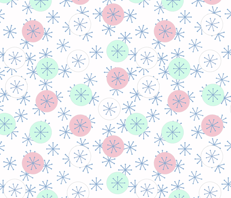 Atomic Snow Denim and Mint fabric by engravogirl on Spoonflower - custom fabric