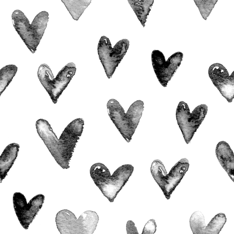 Watercolor Hearts in Black and White fabric by hipkiddesigns on Spoonflower - custom fabric