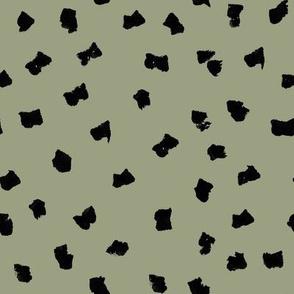 dots // painted minimal polka dots basic dot fabric sage