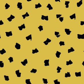 dots // painted minimal polka dots basic dot fabric mustard