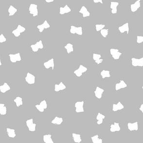 dots // painted minimal polka dots basic dot fabric grey