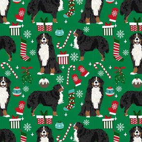 Bernese Mountain Dog breed fabric christmas stockings pet lovers holiday green
