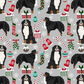 Bernese Mountain Dog breed fabric christmas stockings pet lovers holiday grey