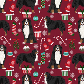 Bernese Mountain Dog breed fabric christmas stockings pet lovers holiday ruby