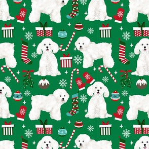 Bichon Frise dog breed fabric christmas stockings pet lovers holiday green