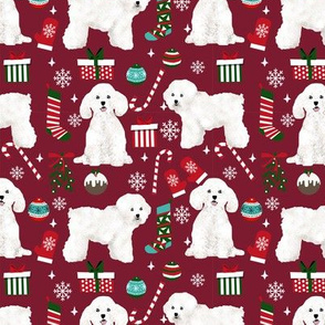 Bichon Frise dog breed fabric christmas stockings pet lovers holiday ruby