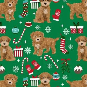 Bichpoo Poochon dog breed fabric christmas stockings pet lovers holiday green