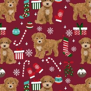 Bichpoo Poochon dog breed fabric christmas stockings pet lovers holiday ruby