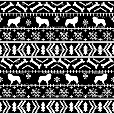Great Pyrenees fair isle do breed silhouette christmas ugly sweater dog gifts black and white