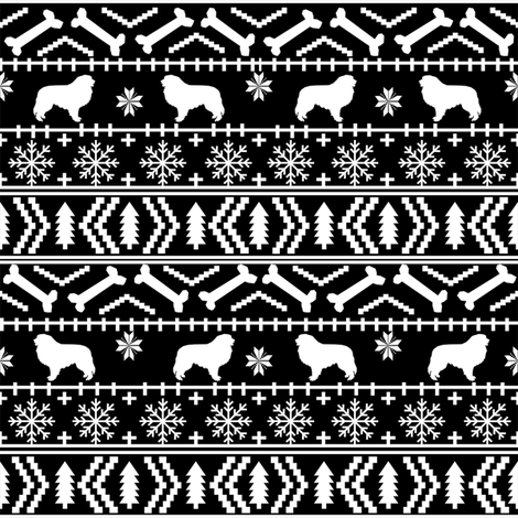 Great Pyrenees fair isle do breed silhouette christmas ugly sweater dog gifts black and white fabric by petfriendly on Spoonflower - custom fabric