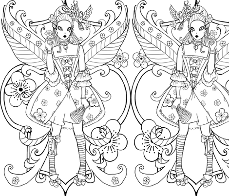 Baroque fairy black and white coloring page fabric by beesocks on Spoonflower - custom fabric
