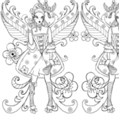 Baroque fairy black and white coloring page