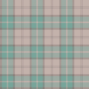 "Dunbar tartan, 6"", custom colorway  mint/taupe"