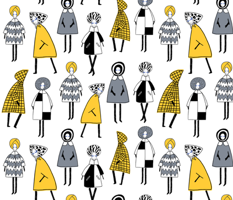 60s Winter Fashion fabric by oleynikka on Spoonflower - custom fabric
