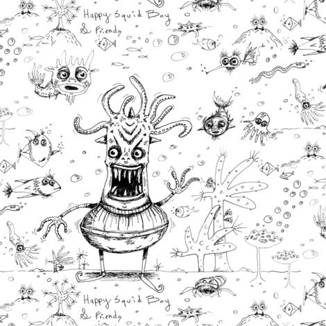 happy squid boy and friends toile, large scale, black and white fabric by amy_g on Spoonflower - custom fabric