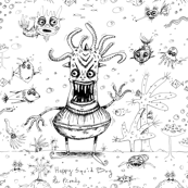 happy squid boy and friends toile, large scale, black and white
