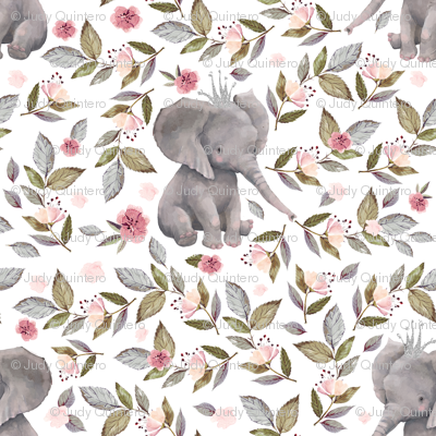 """1.75"""" Baby Elephant with Crown & Florals /  Mix & Match"""