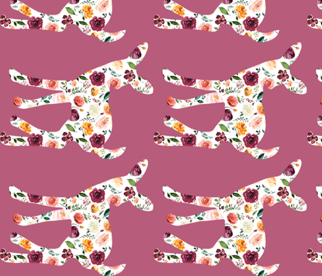"""Floral Fawn Silhouette 90 degrees 20"""" tall fabric by greenmountainfabric on Spoonflower - custom fabric"""