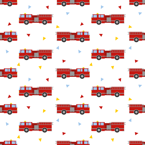 Mod Firetruck fabric by jannasalak on Spoonflower - custom fabric