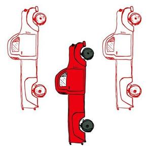 """10"""" Vintage Red Trucks / 90 degrees"""
