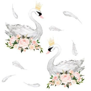 "7"" White Swans with Feathers"