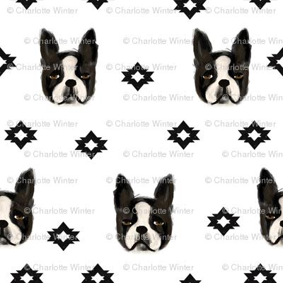 boston terriers dog fabric cute pet lover patterns boston terrier bw
