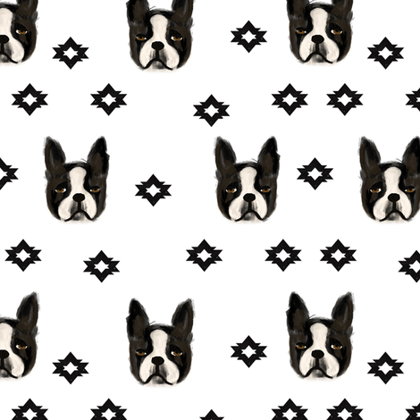 boston terriers dog fabric cute pet lover patterns boston terrier bw fabric by charlottewinter on Spoonflower - custom fabric
