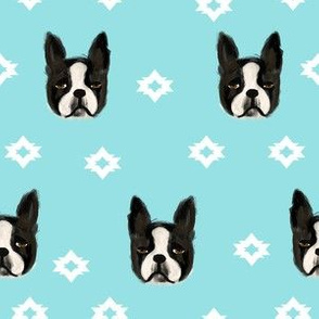 boston terriers dog fabric cute pet lover patterns boston terrier aqua