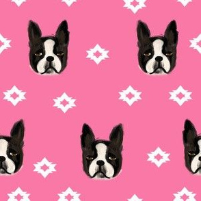 boston terriers dog fabric cute pet lover patterns boston terrier pink