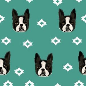 boston terriers dog fabric cute pet lover patterns boston terrier blue green