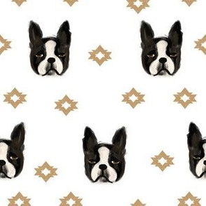 boston terriers dog fabric cute pet lover patterns boston terrier white gold