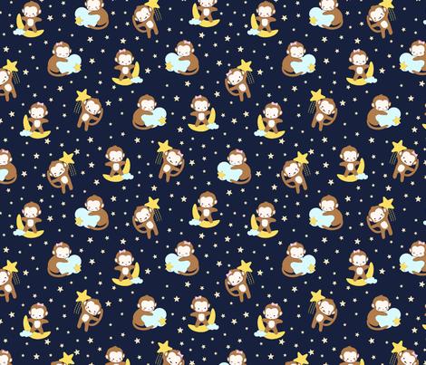 Night Night My Little Monkey [SMALL] fabric by anom-aly on Spoonflower - custom fabric