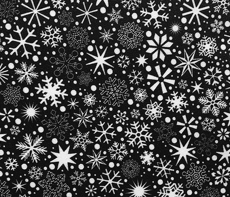 Let It Snow! (Black & White) || snowflakes ditsy star stars winter Christmas holiday