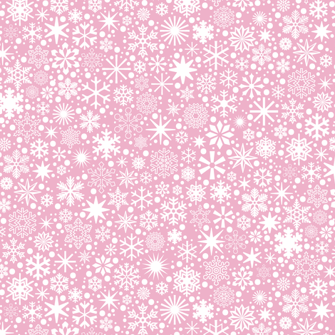 Let It Snow!* (Pink Cow) || snowflakes ditsy star stars winter Christmas holiday fabric by pennycandy on Spoonflower - custom fabric