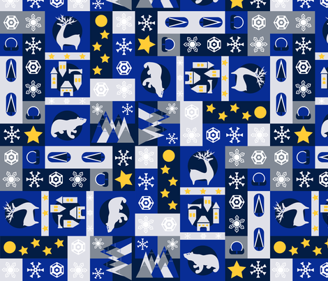 Winter Forest at Night fabric by another_village on Spoonflower - custom fabric