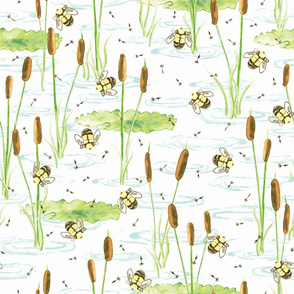 Pond with Bees, Lily pads and Cattails Watercolor on White